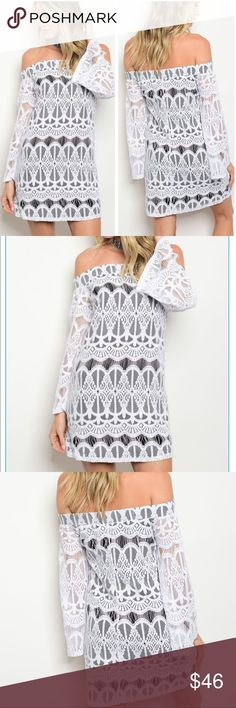 Carlee's Bell Sleeve and Lace Dress Off the shoulder bell sleeved mini dress. White lace with black lining. Lining is 100% Polyester and Top Lace Layer is 65% Cotton 35% Nylon. Perfect for any occasion, Trindy Clozet Boutique Dresses