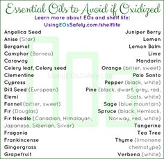 These are some of the essential oils which should be avoided if oxidized. These are also the essential oils to prioritize for refrigerator space, if you have limited room. I compiled this list after flipping through each essential oil profile page in the book Essential Oil Safety.