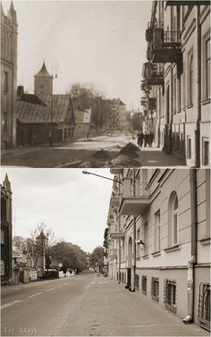 Górne zdjęcie zostało wykonane po 1941 r. Widać już na nim półokrągłą przybudówkę do budynku Ewangelicka 8 wybudowaną przez Niemców.
