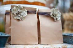 brown paper packages tied up with strings...and book page flowers