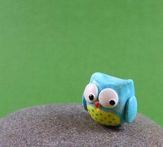 Little Blue Owl - Hand Sculpted Miniature Polymer Clay Animal