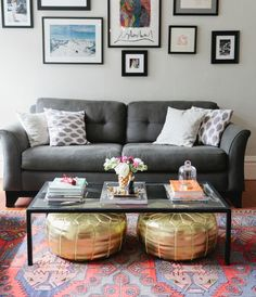 Living room with gray sofa gallery wall and gold poufs Affordable Decor & 99 DIY Apartement Decorating Ideas On A Budget (23)   In Boookmarks ...