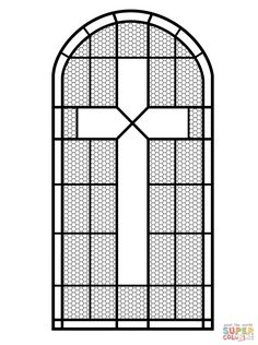 Cross Stained Glass Window coloring page from Stained Glass category. Select from 26977 printable crafts of cartoons, nature, animals, Bible and many more.