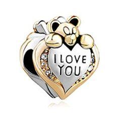 Charm Herz I Love You Baby Bear Klar Geburtsstein Verkauf Billig Perlen für Pandora Chamilia Armbänder - http://schmuckhaus.online/fit-pandora-style-charms/charm-herz-i-love-you-baby-bear-klar-geburtsstein