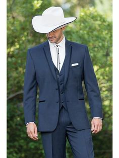 Grooms tux - obv hate the cowboy stuff but the suit is very nice Cowboy Wedding Attire, Tuxedo Wedding, Wedding Suits, Wedding Tuxedos, Cowboy Weddings, Barn Weddings, Outdoor Weddings, Romantic Weddings, Country Wedding Groom