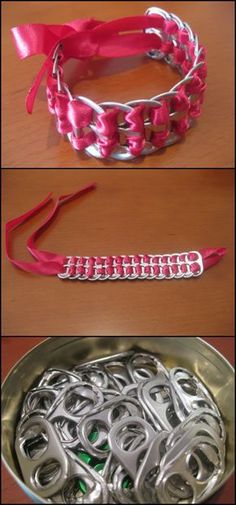 Could do this for the Jeweler badge! This bracelet is made out of soda pop tabs and a red ribbon – a very easy DIY project!