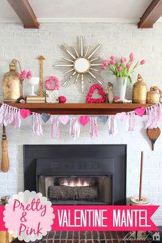 Pretty & Pink Valentine Mantel
