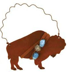 Rusty buffalo ornament with beads - Native American Tree Ornaments - (rustic, rural, western, country Christmas)