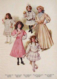 1907 Children's Fashion Color Print
