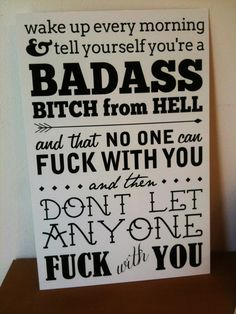 Badass Bitch From Hell Kate Nash quote sign by Theerin on Etsy