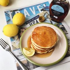 Still on the pancake track this morning with Lemon Ricotta Cloud Pancakes from @we_are_food's #amodernwaytoeat. They're inspired by @gjelinarestaurant in Venice, so obviously I'm reading the USA travel special in @thetimes, missing life (and the sunshine!) in Los Angeles. ☀️ #pancakes #lemon #breakfast #brunch #january #weekend #sunday