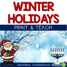 This Winter Holidays Print & Teach packet is the perfect supplement to your classroom for teaching about the common winter holidays. It includes short reading passages and comprehension practice.
