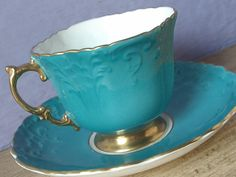 Antique 1930's Aynsley bone china tea cup and saucer, blueish green tea cup…