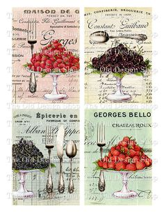 Bon Appetit 3.5 Inch x 5 Inch Cards Printable Digital Collage Sheet