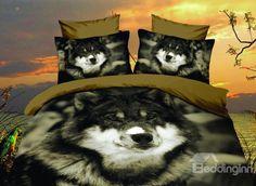 New Arrival Desert Wolf Print 4-Piece Polyester Duvet Cover Sets