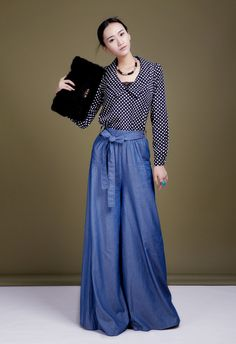 Regine nuovo 2014 primavera e l'estate di alta qualità tencel denim Palazzo plus size pantaloni gamba larga in da su Aliexpress.com