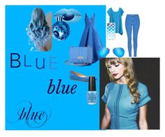 """blue for sky"" by alice-cream ❤ liked on Polyvore featuring TravelSmith, Rosie Assoulin, Topshop, Talbots, Aspinal of London, Ray-Ban, Casetify, OPI and Thierry Mugler"