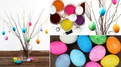 Easter eggs hung from branches in a vase.