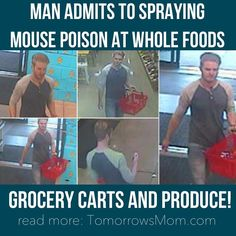 I am appalled after reading this news from Patch.com. Apparently this man went around various grocery stores like Meijer Whole Foods Plum Market spraying mouse poison to the grocery carts (or buggies) and produce. The man has been apprehended and the Health department says they expect no adverse health dangers from this incident to those affected. But in my opinion if your eating conventional you need to be just as worried about the glyphosate sprayed on your food. Not sure about glyphosate?…
