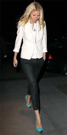 jacket, cropped pants, heels