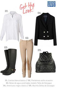 Look estilo ecuestre inspirado en las auténticas amazonas con camisa blanca, pantalones de montar, americana negra con botones dorados, y botas de agua y mochila acolchada de Gioseppo.