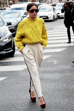 so simple... so clever. Mira pairing a yellow knit with those trousers to deal with the weather situ. Paris. #MiroslavaDuma