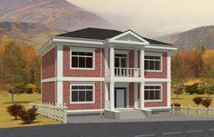Проект стильного двухэтажного дома с цоколем Rg5020 Вид1