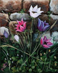 Chios anemoni puppies acrylic on canvas