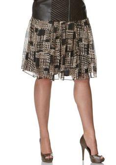 Alfani Woman Plus silk patched plaid print A-Line skirt 1X 2X 3X NEW Macys #ALFANI #ALine