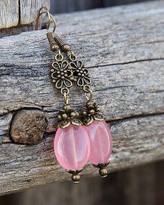 gabi111 / Ružový oválny jadeit - náušnice