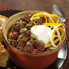 No-Bean Chili Recipe- Recipes I often combine the ingredients for this zesty chili the night before. In the morning I load up the slow cooker and let it go! It's so easy to prepare. No Carb Recipes, Chili Recipes, Slow Cooker Recipes, Crockpot Recipes, Soup Recipes, Great Recipes, Cooking Recipes, Favorite Recipes, Healthy Recipes