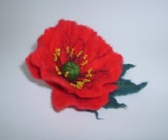 Red Felted brooch-Felt flower-Felted by YuliasFeltworld on Etsy