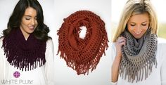 Denali Fringe Infinity Scarves! 5 Color Options!