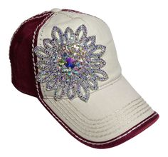NEW! Large AB Color Rhinestone Flower on Beige/Burgundy Baseball Cap! Beautiful cap! Order now at www.shopspiritcaps.com!