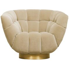 Brabbu Essex Armchair in Beige Cotton Velvet with Matte Brass Base For Sale Wingback Armchair, Velvet Armchair, Modern Armchair, Upholstered Chairs, Swivel Chair, Velvet Chairs, Armchairs, Chair Cushions, Dining Room Chairs