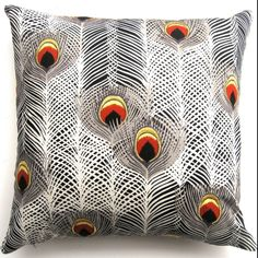 Black white peacock pillow by The Divine Chair
