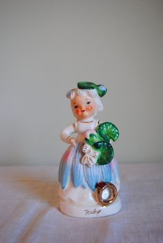 Mid Century July Ruby Flower Girl Birthstone of Month Figurine