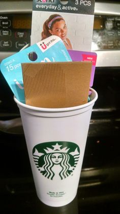 Great gift idea for that hard to shop for teenager. Reusable Starbucks cup, gift card, hairties and headband .
