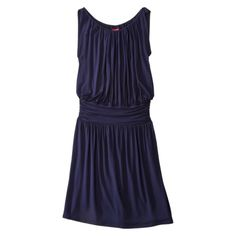 simple navy summer dress; definitely pair with fun gold earring, but no necklace