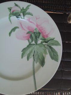 peony/ hand painted on Limoges Porcelain/ Patricia Deroubaix (sur commande/special order) France