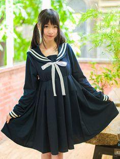 High-waisted Lolita Sailor Dress  #sailor #lolita