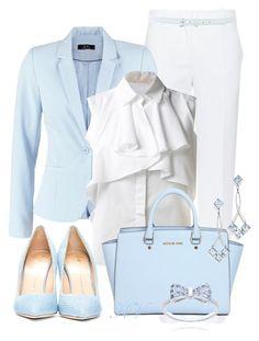 """Light blue blazer"" by florikaa ❤ liked on Polyvore featuring Giorgio Armani, Modström, Giambattista Valli, MICHAEL Michael Kors, Giuseppe Zanotti and Oscar de la Renta"
