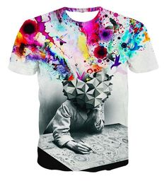 New Fashion Style Womens/Mens The Thinker Printing Abstract 3D Print T-Shirt L | eBay