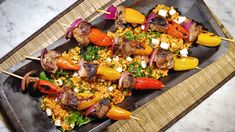 Lamb Kebabs With Red Pepper Israeli Couscous Salad: Try this dish with ...