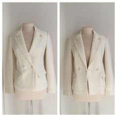 """MAJOR FLASH SALE!! Vince white blazer Vince white blazer. Size 4. Brand new with tags. Measures 23"""" long with a 34"""" bust. The front has a button closure and two pockets (not functional pockets). Very very slightly fuzzy. The inside is lined and there are buttons on the cuffs as well. The back of the collar has a small red stain. It will easily be covered by hair (it's less than .2""""). No trades. Poshmark onlyI am very open to fair offers! Vince Jackets & Coats Blazers"""