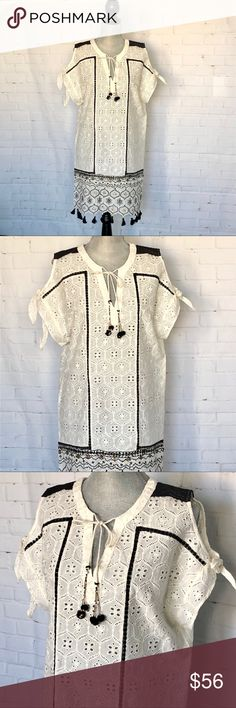 Anthro Eyelet Hemant & Nandita Embellished Tunic Anthro Eyelet Hemant & Nandita Embellished Tunic Cream colored white black and gold accents. Stunning! NWT. #SR- 300917 Anthropologie Tops Tunics