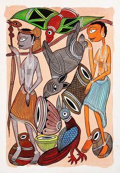 Tribal Hunters - Kalighat Painting (Kalighat Painting - Water Color on Paper - Unframed) Buddha Painting, Madhubani Painting, Indian Folk Art, Indian Artwork, Indian Prints, African Art Paintings, Madhubani Art, Art Inspiration Drawing, India Art
