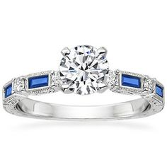 18K White Gold Vintage Sapphire and Diamond Ring- breathtaking!