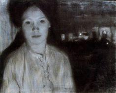 Mario Sironi [1885 - 1961]  Portrait of his sister Marta (1904)