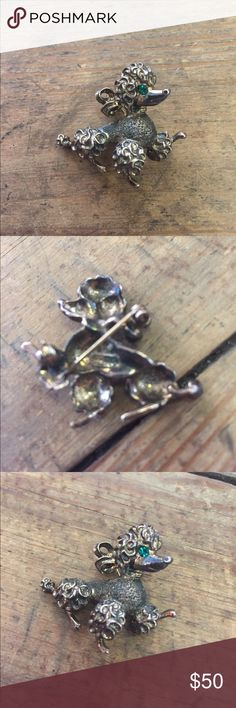 Sterling silver poodle Brooch! Stamped Sterling on back its a beautiful vintage poodle Brooch (: Jewelry Brooches